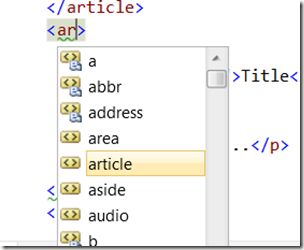 HTML 5 Article tag in VS editor