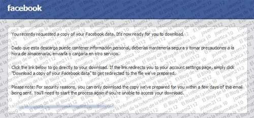 Copia de seguridad de Facebook - email archivo preparado