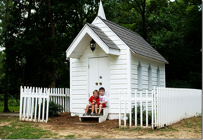 Troy and Colt at little house