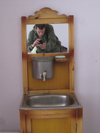 Mongolian sink (the water goes in the metal can)