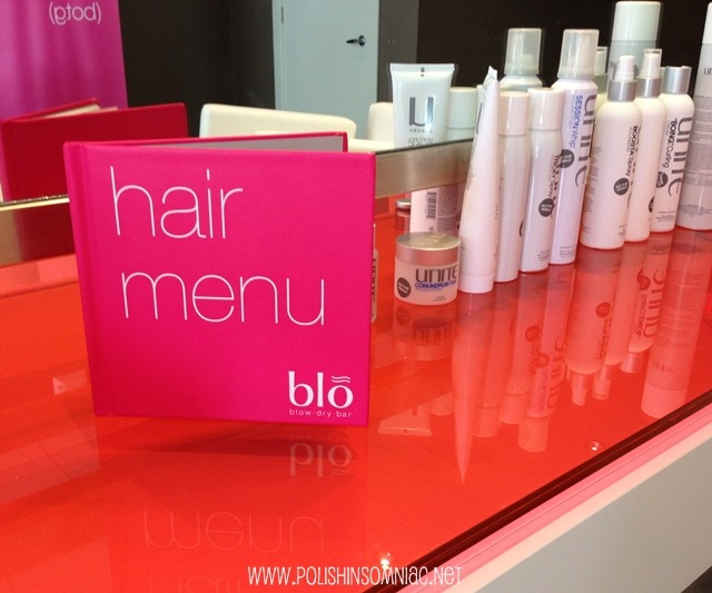 The hair menu at Blo