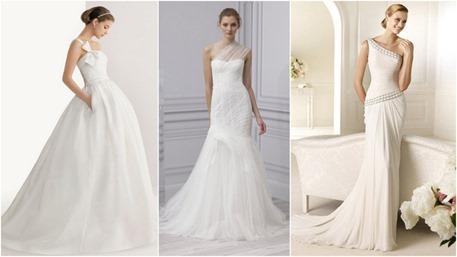 vestido de boda un solo hombro