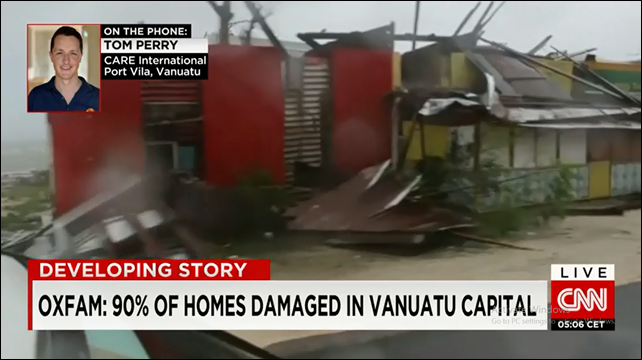 Screenshot of a CNN interview with Tom Perry of CARE International, who reports widespread destruction in the island nation of Vanuatu after Cyclone Pam struck on 15 March 2015. Photo: CNN
