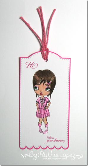 Oddball Art Stamp Co. - ~Big Eye Sassy Girl Image No.108 - Tag - Ruthie Lopez
