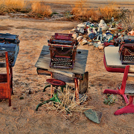 One Mans Trash is Another Mans treasure by Janet Aguila Krause - Artistic Objects Antiques ( desert, typewriter, pioneertown, yucca valley, school desks )