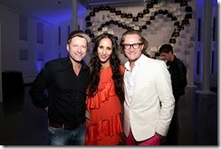 MIAMI BEACH, FL - DECEMBER 03: (L-R) Bruno Eyron, Friederike Dirscherl, and Karsten Thamm attend the Porsche Design x Thierry Noir Art Basel Miami Beach Event at The Temple House on December 3, 2013 in Miami Beach, Florida.  (Photo by Neilson Barnard/Getty Images for Porsche Design)