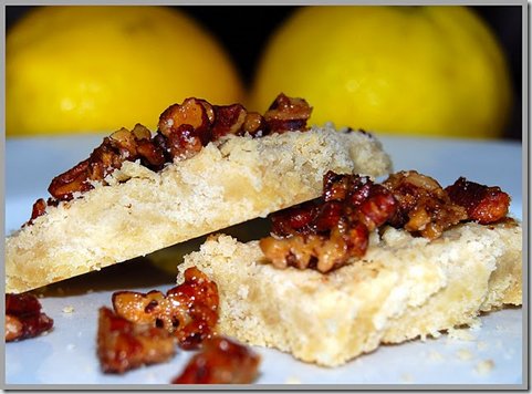 Lemon Shortbread With Candied Pecan Topping