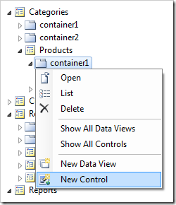 New Control option in Code On Time Project Explorer