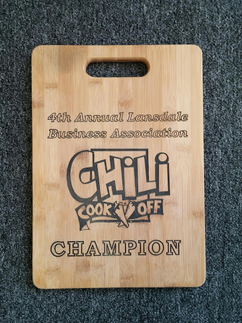 Chili Cook Off Engraving on bamboo cutting board