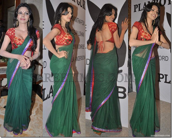 Sherlyn_Chopra_Green_Saree