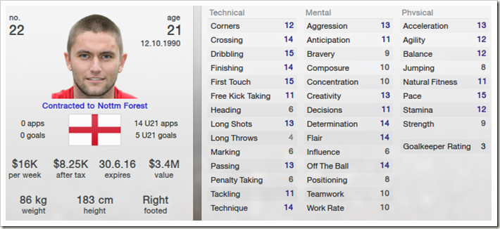 Henry Lansbury in Football Manager 2013