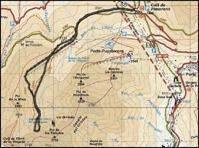 Puymorens - Puntes de la Vinyola - Nit de Carnestoltes 200m IV  70º (Mapa)