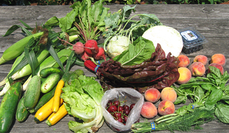 This week's bounty: Swiss chard, kohlrabi, cabbage, cukes, zukes (including yellow ones), beets, lettuce, basil, dill, corn, cherries, blueberries, and peaches. Oh, my!