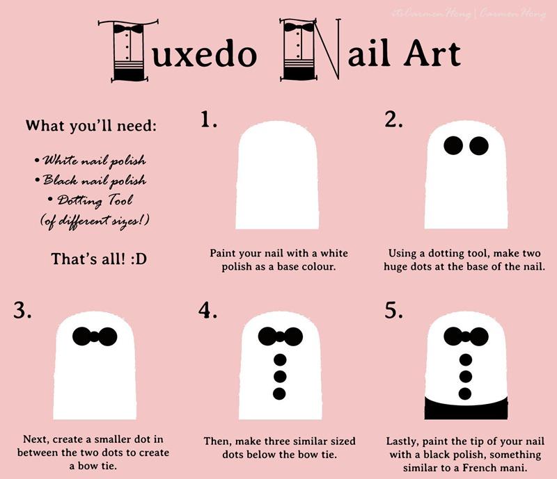 Tuxedo Nail Art Tutorial