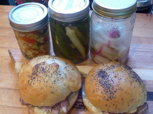 Roast Pork on Buns with Zucchini and Corn Relish, Quick Pickled Okra, and Lime-Pickled Onion.