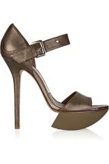 Camilla Skovgaard Metallic textured-leather platform sandals