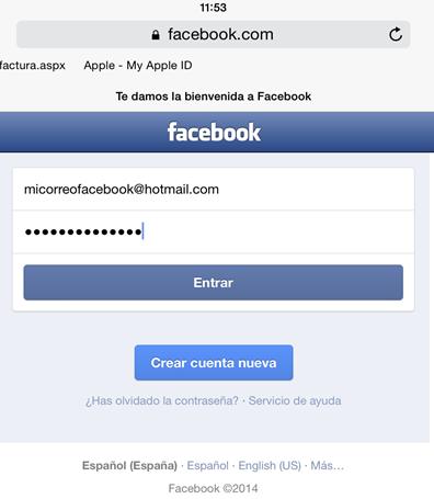 Interfaz de inicio de sesión en Facebook desde un iPad