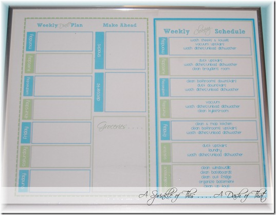 Dinner Menu Planner and Cleaning Chart {A Sprinkle of This . . . . A Dash of That}