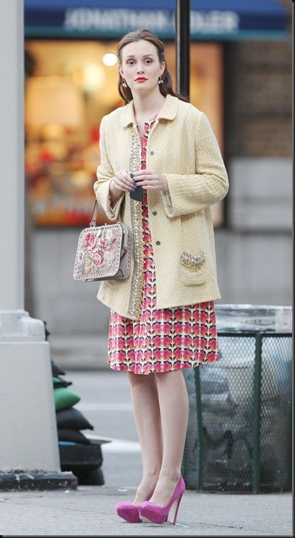 Blake Lively, Leighton Meester and Penn Badgley film Gossip Girl