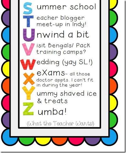ABC of Summer Bucket List Editable