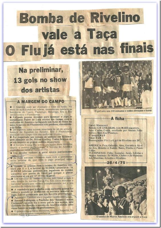 Recorte Jornal. Preliminar Flu x America. 1975-1