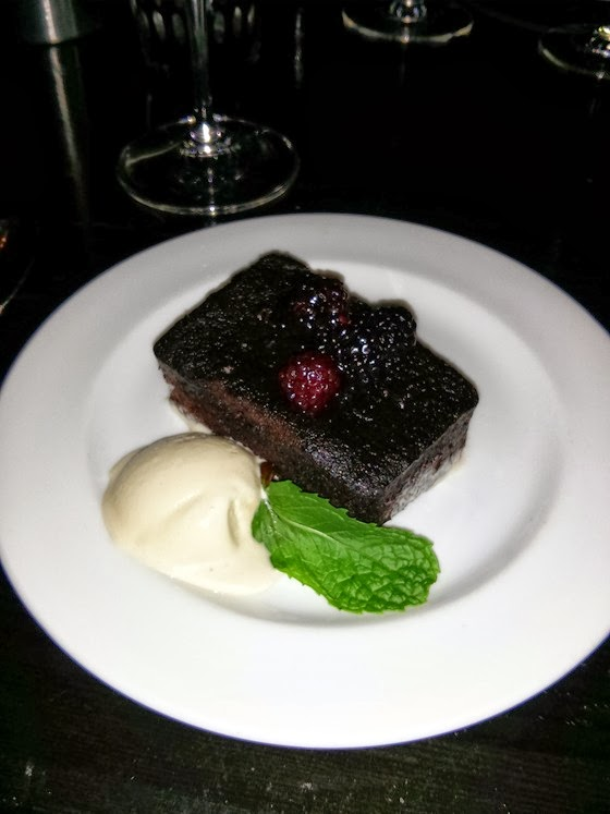 Local Lounge: Warm Meritage Chocolate Cake with Poached Blackberries, and Caramel Espresso Ice Cream