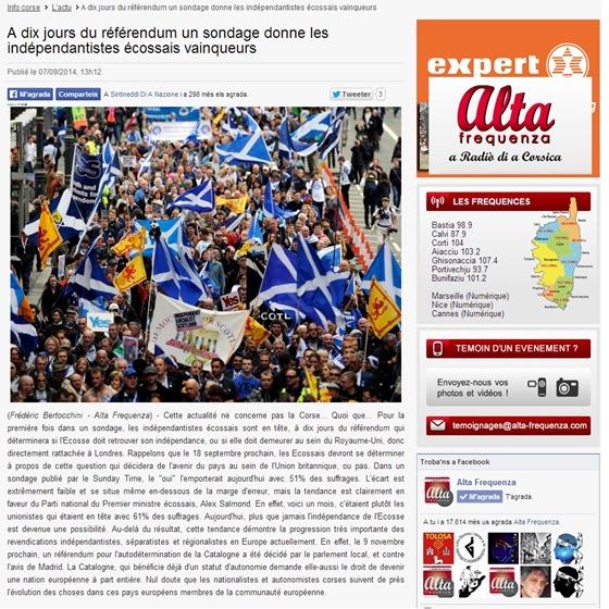 Article Alta Frequenza sobre lo referèndum en Escòcia