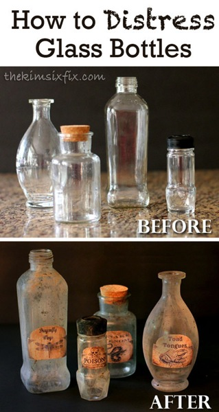 How to Distress Glass Bottles.. Make them look old and dirty, or tone it down and just make them look vintage. A great tutorial.