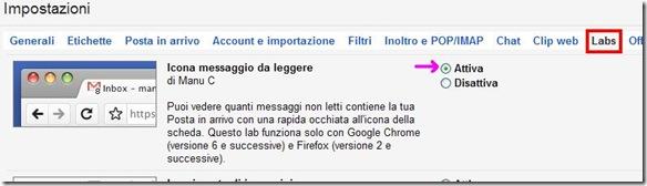 Gmail Labs Icona messaggio da leggere
