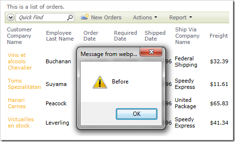 Alert showing 'Before' appears before the select command occurs.
