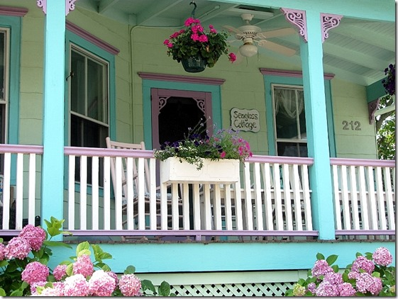 aqua and pink house