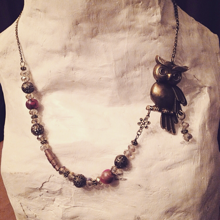 One of a kind Owl necklace made by Felicia Stevenson