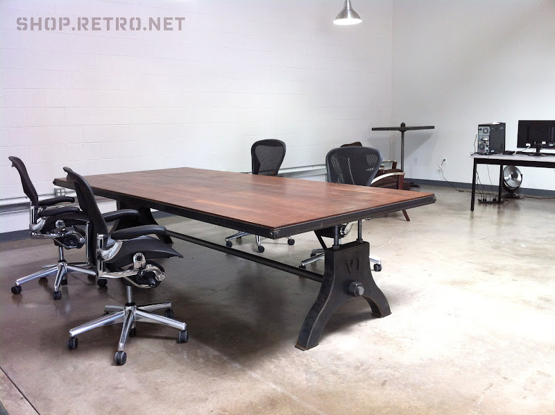 Hure Conference Table And Ellis Night Stand Vintage Industrial - Old conference table