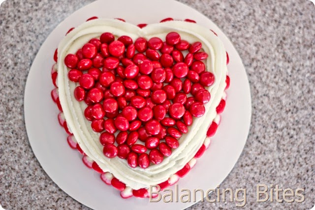 Candy Covered Heart Cake - Balancing Bites