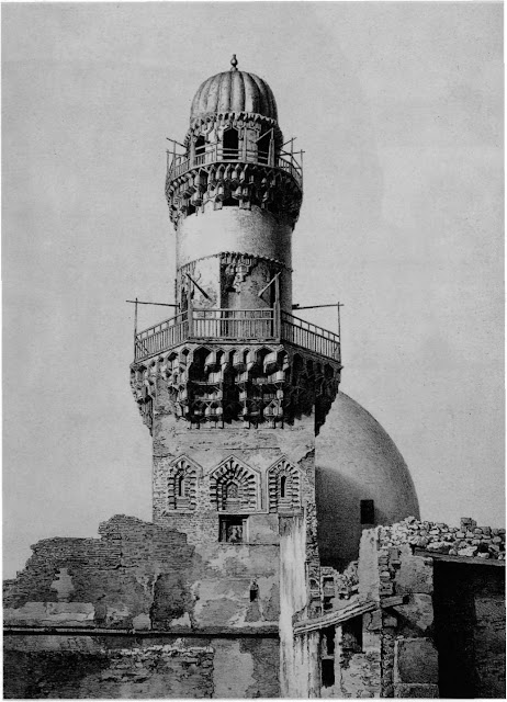 Baybarsiya mosque, minaret, 14th century. The mosque, patronized by a former slave of Qalawaun, is the oldest standing khanqa in Cairo. Its minaret once towered over suirounding structures. The complex's waqf document has survived and offers insights into the daily life of 14th-century Sufis.