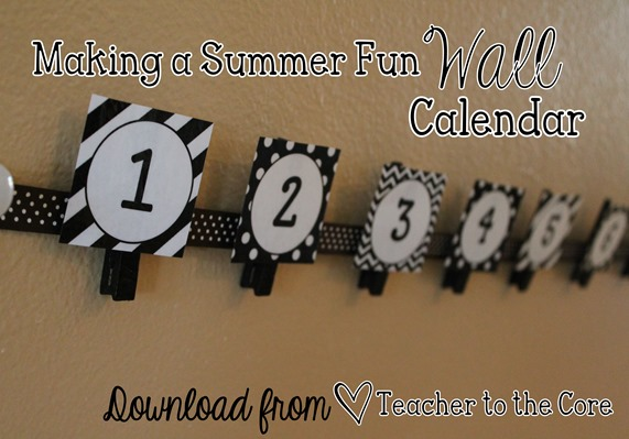 Wall Calendar to keep track of summer fun