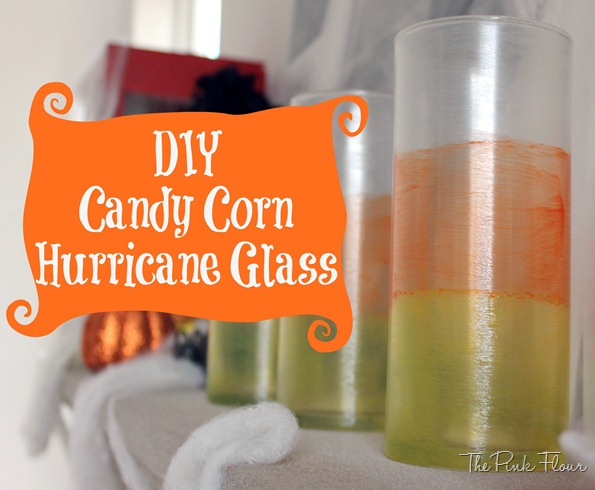 DIY Candy Corn Hurricane Glass from The Pink Flour
