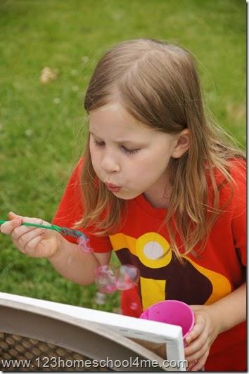 Child made bubble splatter art for kids