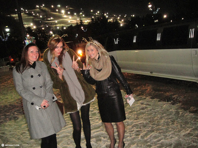 the girls and the limo at blue mountain in Collingwood, Ontario, Canada