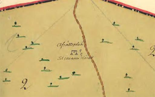 Karta från 1774 över allmänningen Örlösan. Avrättningsplatsen
