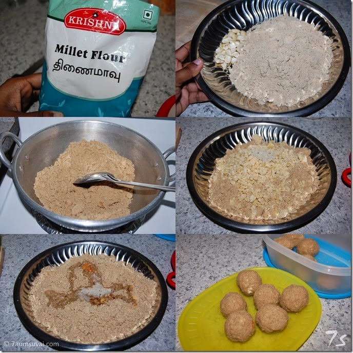 Thinai maavu laddu process