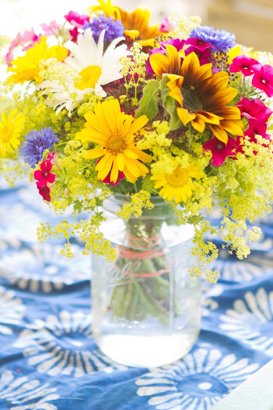 mason jar vase of flowers