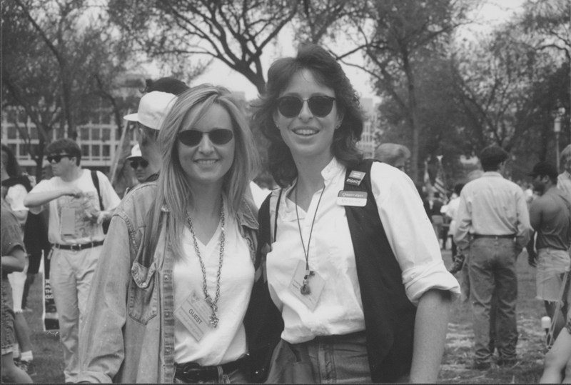 Melissa Etheridge with Lynn Harris Ballen backstage at the March on Washington. 1993.