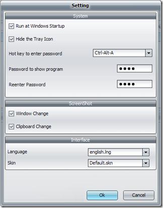 Spyrix Free Keylogger impostazioni