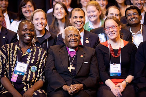 Archbishop Emeritus Desmond Tutu with Rotary World Peace Fellows at the Rotary World Peace Symposium in Birmingham, England, June 2009