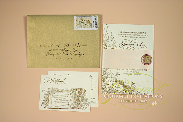 Jaclyn + Scott: Wax Seal Letterpress Invitations - Gourmet Invitations