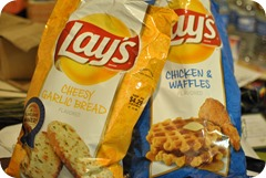 Cheesy Garlic Bread and Chicken & Waffles Lay's Chips