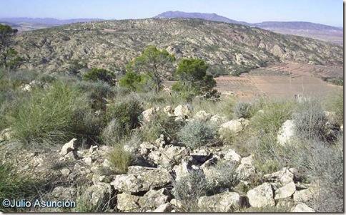 La sierra del Carche y el Cabezo de la Sal desde el Castillarejo - Pinoso