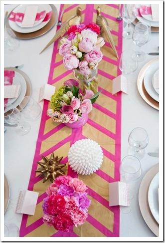 pink gold table runner