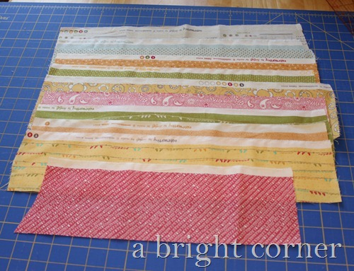 Table runner made from fabric scraps
